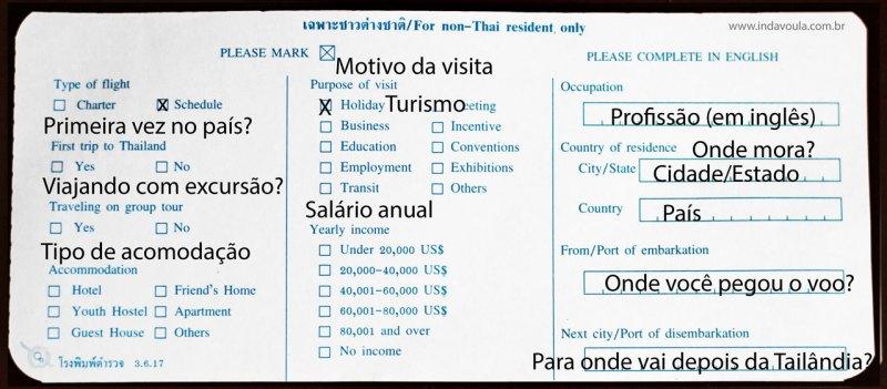 Cartão de imigração da Tailândia - parte 3