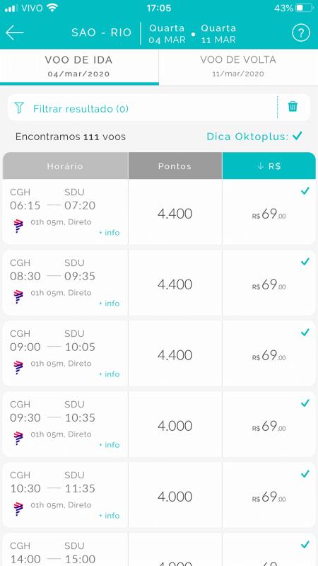 Tabela de preços das passagens no Oktoplus
