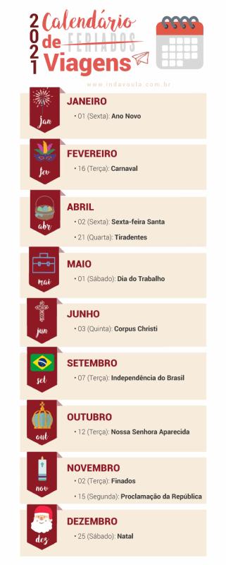 Calendario de feriados em 2021