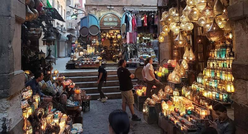 mercado na cidade de Cairo, Egito