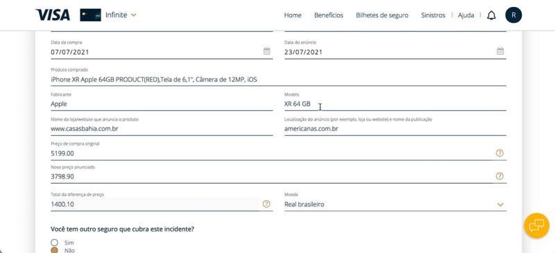 Informações da compra do seguro proteçao de preço