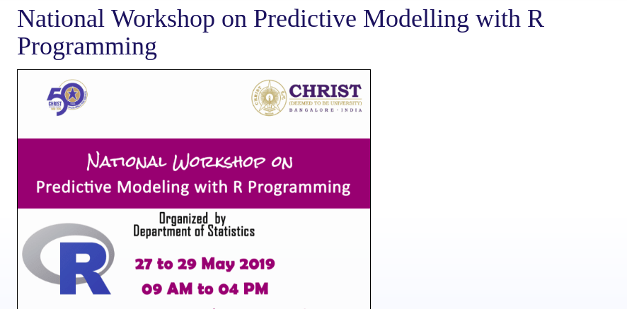 National Workshop on Predictive Modeling with R Programming 2019