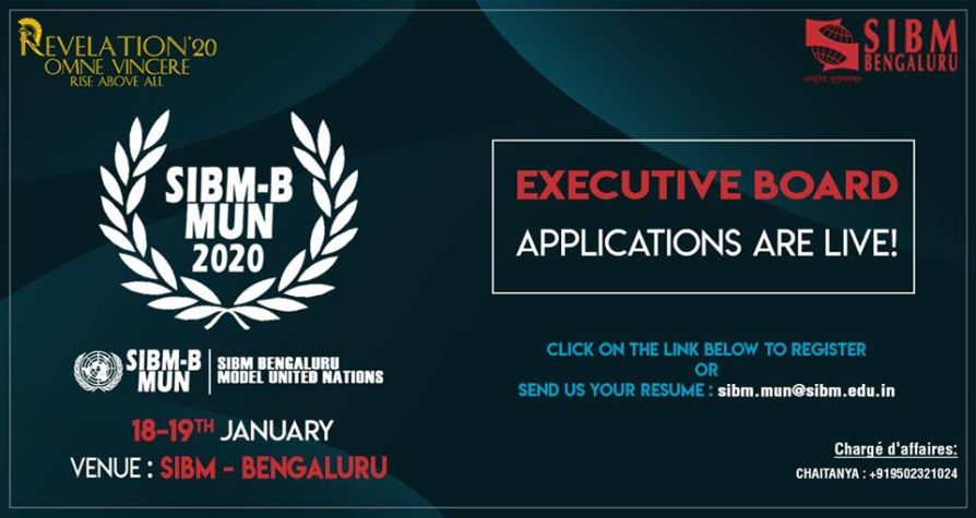 Symbiosis Institute of Business Management - SIBM, Bengaluru‎SIBM Bengaluru Model United Nations (MUN) | Revelation 2020