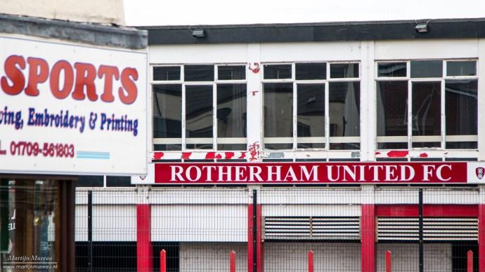 Het verlaten Millmoor, oude thuisbasis van Rotherham United