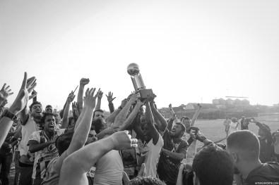 De spelers van Guarany vieren het behalen van het kampioenschap