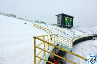 De ultras van Dynamo Kiev schrokken zich kapot toen ze het uitvak zagen. Niet sneeuwvrij. Foto afkomstig van http://wbc.kiev.ua/