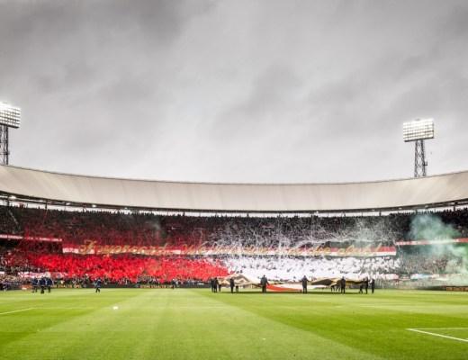 Tifo bij Feyenoord bij opkomst van de spelers Feyenoord - PSV. Foto: Pro Shots / Erwin Spek