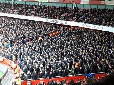 Het uitvak met Tottenham-fans was de volledige wedstrijd goed te horen.