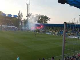 Vuurwerk op de tribune van Zilina (via Michael).