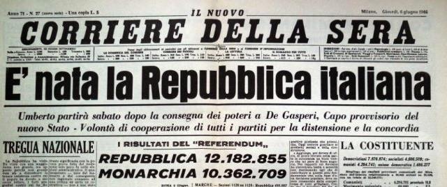 La Repubblica Italiana nasce con referendum a suffragio universale