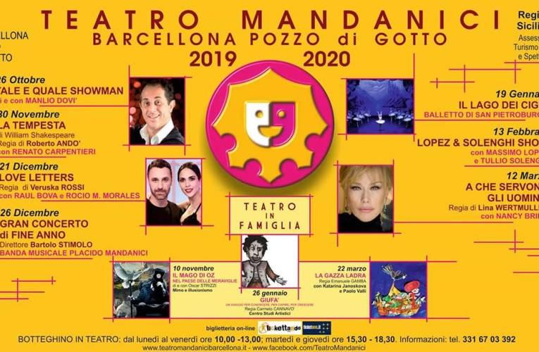 Al via la stagione 2019/2020 del Teatro Mandanici