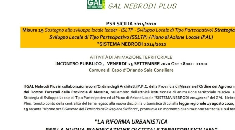 GAL Nebrodi Plus, convegno sul nuovo testo di Legge di riforma Urbanistica in Sicilia.