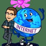 Matt BitEmoji Standing next to a globe with a sash saying 'Internet, why blogging is important, copywriter, work