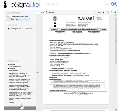 Previsualización del documento previa a la firma electrónica del usuario