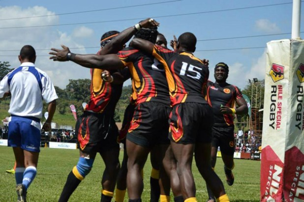 Rugby Cranes celebrate a try during the Namibia game in Kampala. Photo via
