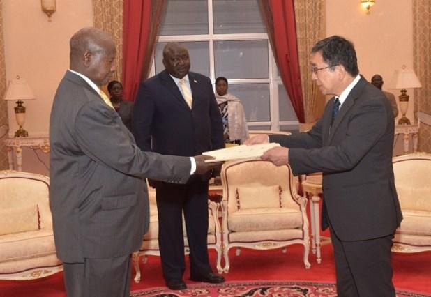 FILE PHOTO: When Japanese Amb Kazuaki Kameda presented credentials to Uganda's President Museveni