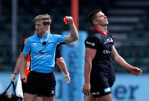 Owen Farrell received a five-game ban for a dangerous tackle that earned him a red card against Wasps. Action Images/Paul Childs/File Photo