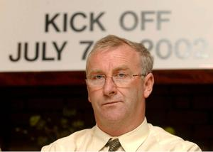 28 April 2002; Dermot Keely after being appointed manager of Kildare County FC.. Picture credit; Ray McManus / SPORTSFILE