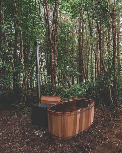 A hot tub in the forest