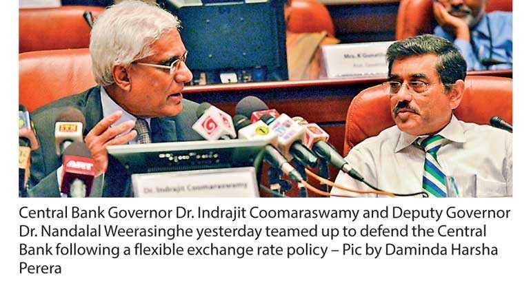 CB backs flagging rupee