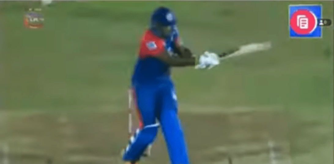 Andre Russell breaks the ball