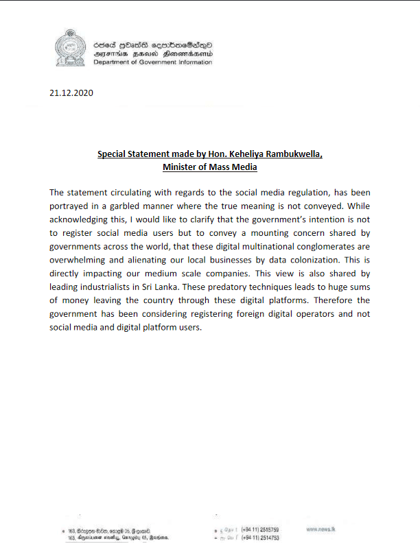 Special Statement made by Minister of Mass Media