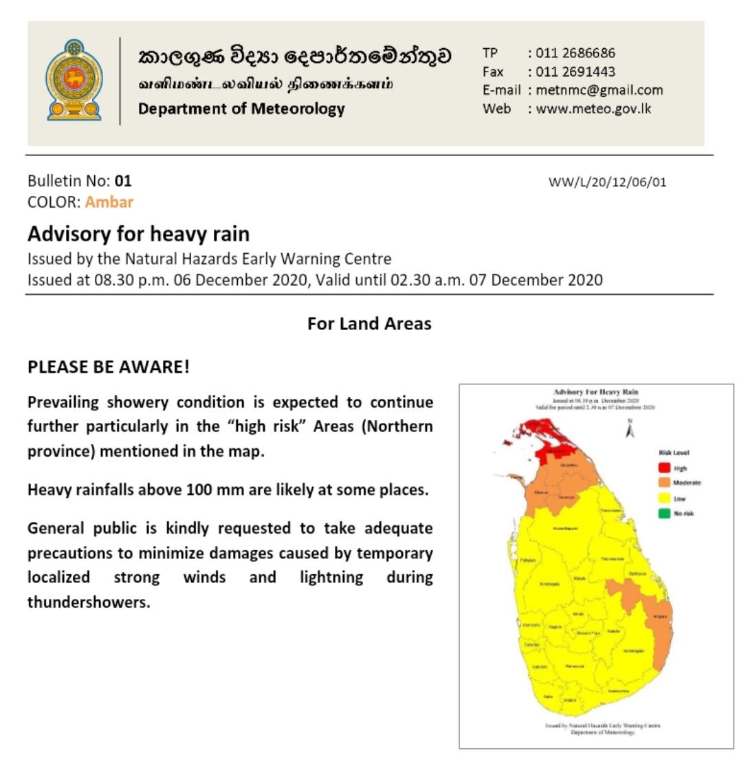 Advisory issued for heavy rain