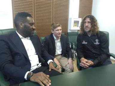 UEFA Champions League Lands In Uyo, Puyol, Okocha Pictured Together | Independent Newspapers Nigeria