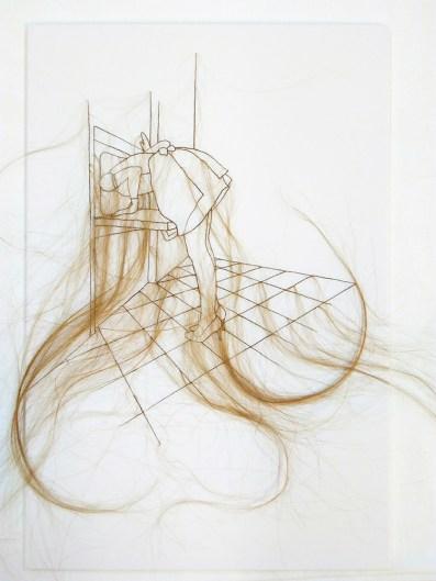 Elyse Galiano, Sylvia, capelli naturali, cotone, legno, 70x50cm, 2018