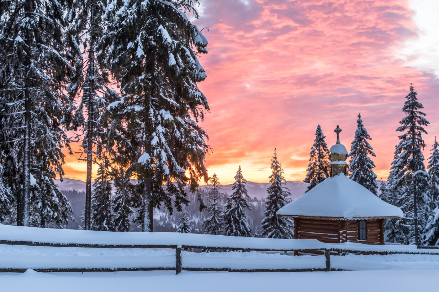 Ukraine, Carpathian mountains, Winter, Eastern Europe