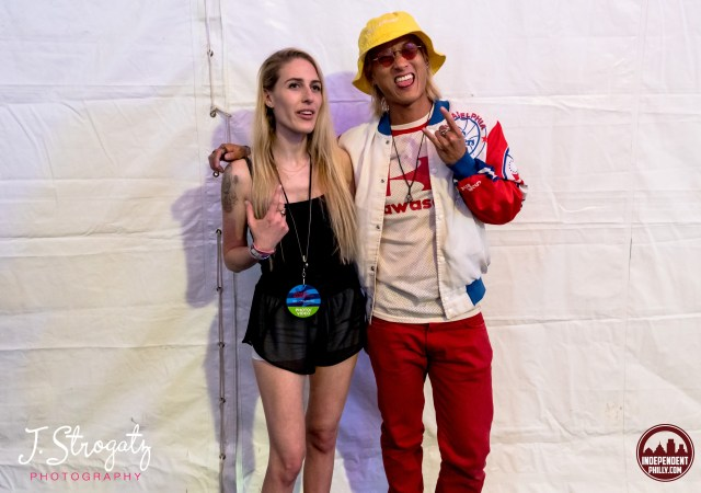Jen Strogatz and musician Elephante at the Made In America Music Festival after an interview