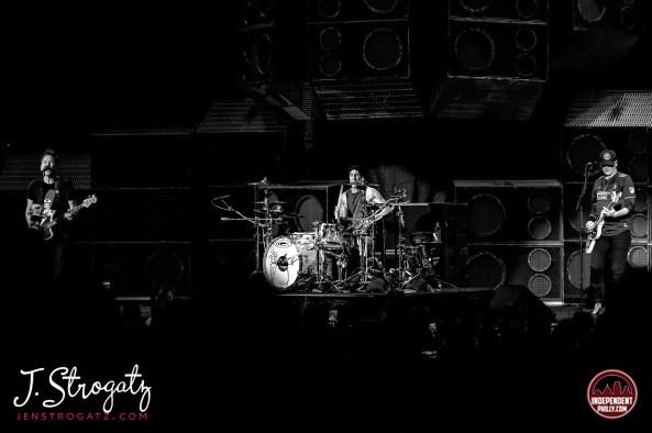 Blink-182 on stage performing live in Camden, NJ. September 2019 by Jen Strogatz.