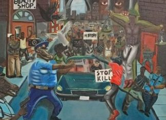 Painting hanging in the MO capitol depicts police as pigs terrorizing poor African-Aemricans.