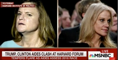 Jen Palmieri on the left and Kellyanne Conway