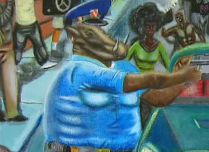 Police as pigs painting hung in the US Capitol
