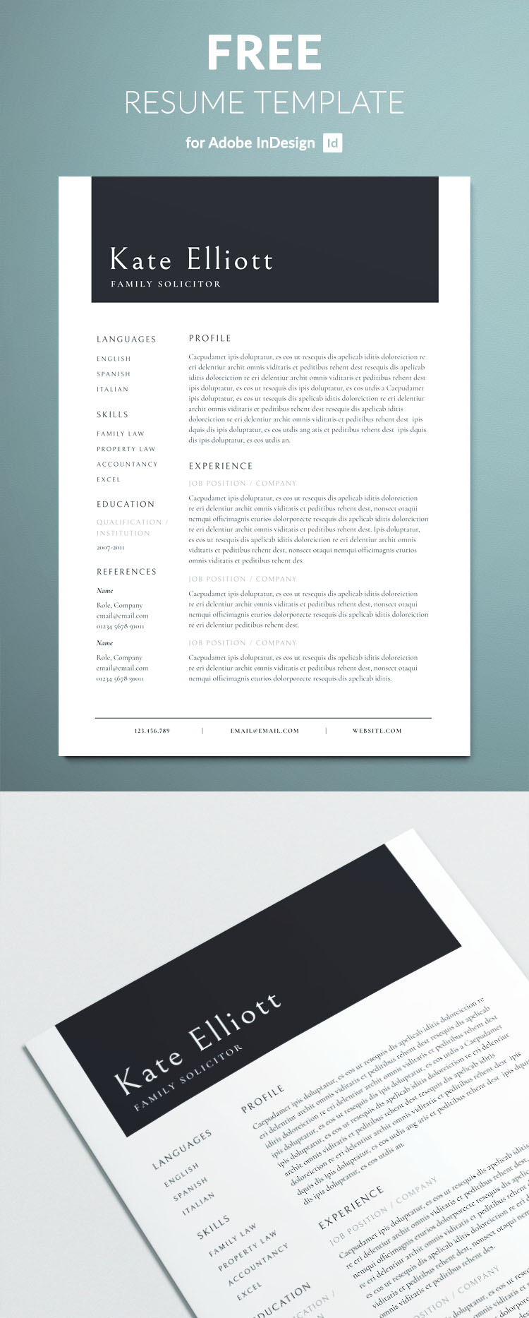 Professional Resume Template   Free InDesign Templates Professional resume template for InDesign   Free Download   Professionally  created layout