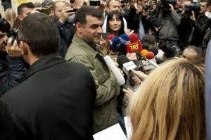 Athens, Greece. 29th October 2012 -- Greek Journalist Kostas Vaxevanis has his trial postponed. Stathis Kalligeris | Demotix