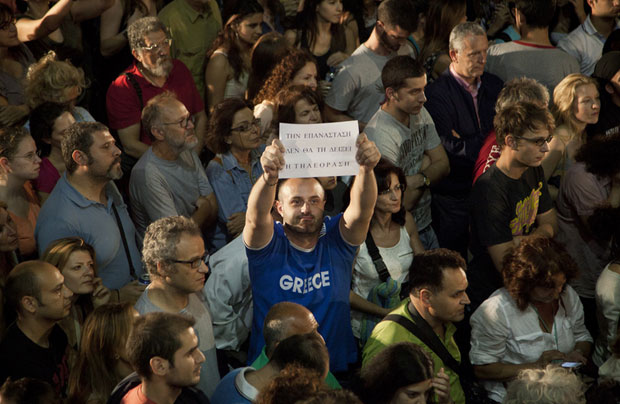 Greeks protested their government's decision to shutter public broadcaster ERT. (Photo: MICHALIS MICHAILIDIS/Demotix)