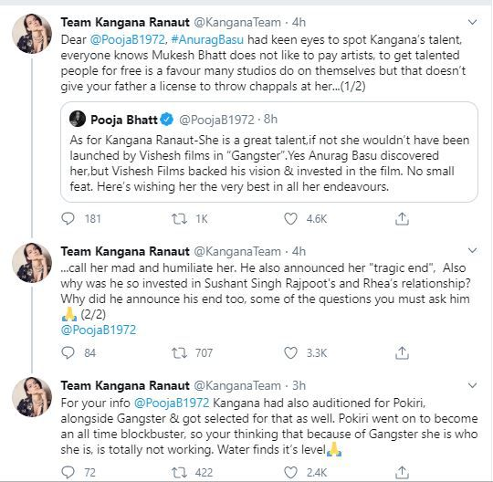 Kangana Ranaut's Team Slams Pooja Bhatt, Alleges Mahesh Bhatt Threw Chappals at Her in Response to Nepotism Tweet 9