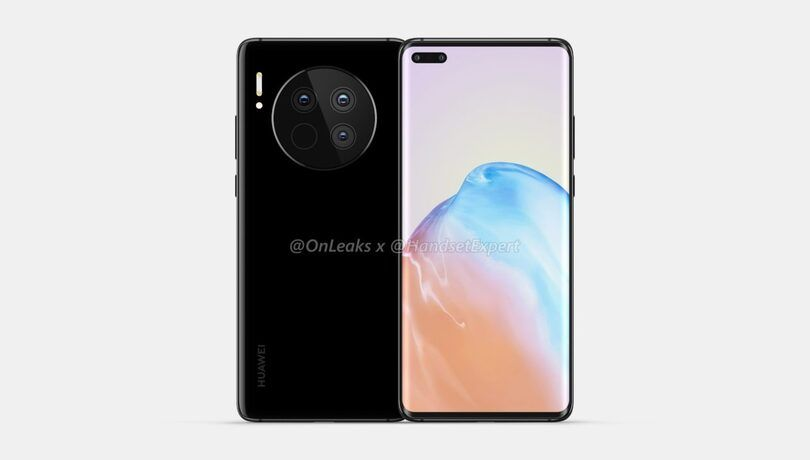Huawei Mate 40, Mate 40 Pro renders show stylistic design with a circular camera and dual punch-hole display