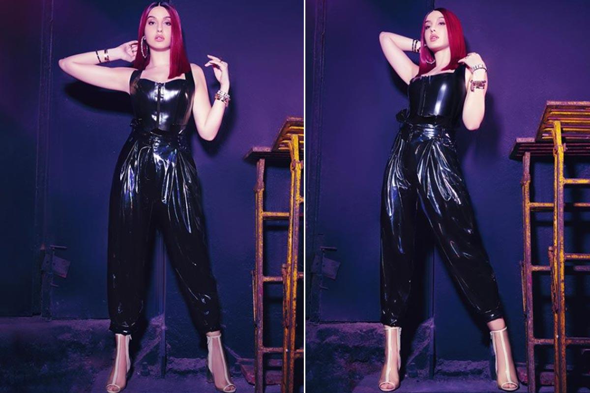 Insta :  Nora Fatehi semble phénoménale dans une combinaison en cuir noir sur la nouvelle affiche