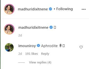 mouni Roy's comment on Madhuri Dixit's mesmerising picture
