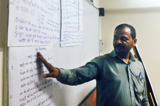 Naresh-ji from Gole Market, helping us understand the challenges of living in a constant state of insecurity: without a home accessing life-saving services like health and food becomes an constant challenge.