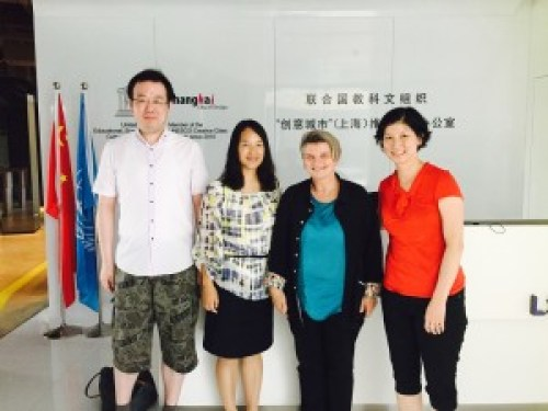 New School faculty Victoria Hattem (2nd from right) and Laura Lui (far right) at a SPW meeting in Shanghai, China.