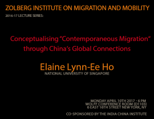 Conceptualising 'Contemporaneous Migration' through China's Global Connections - ZIMM Lecture w/ Lynn-Ee Ho @ Wolff Conference Room (1103)