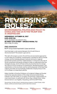 Reversing Roles? Environmental Politics and Policy in China and the US in the Trump and Xi Jingping Era w/ Robert Gottlieb @ Orozco Room (#712)