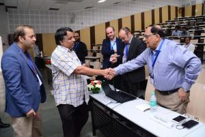 PJ Narayanan - Director IIIT meets Vijay Madan at Developers tutorial in IIIT Hyderabad