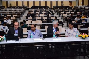 Prof Laurent, Vijay Madan, Klaus Pendl and PJ Narayanan at Developers tutorial in IIIT Hyderabad