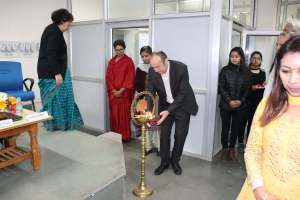 Prof Laurent lights the inauguration lamp at Developers tutorial in Panjab Unversity