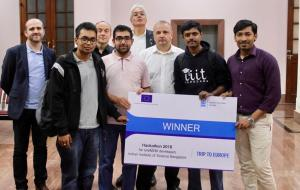 Prof Samir, Prof Laurent, Klaus Pendl and Thierry with the winning team of Hackathon at IISc Bangalore